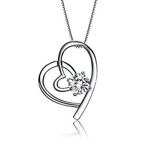レディースネックレス ハート型ネックレス ジルコニア採用 925銀製 45cmネックレス 可愛い バレンタインデー ・誕生日・記念日・オフィス・クリス stylecolorstore