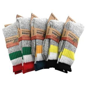 スキー 登山 アウトドア スポーツ メンズ 靴下 厚地 バルキーパイルソックス 5足セット stylecolorstore