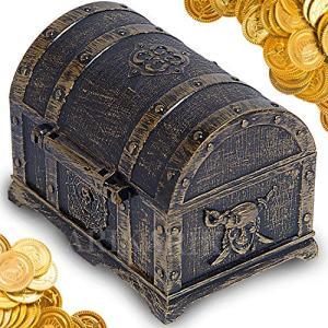 ARIKA(アリカ) 宝箱 おもちゃ 箱 海賊 金貨 お宝 金貨 100枚 セット (アンティーク)|stylecolorstore