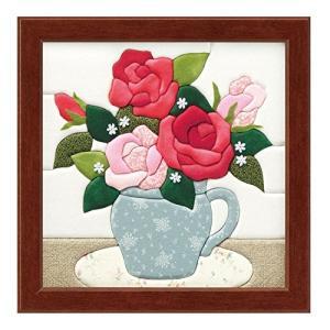 さくらほりきり 手作りキット きめこみ バラとブルーポット 額付 内寸8インチ|stylecolorstore