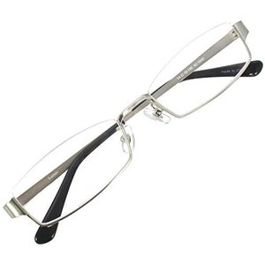 アンダーリム スクエア メガネフレーム メタル メガネ 伊達 眼鏡 UV ブルーライト カット (シルバー UVカットレンズ) stylecolorstore