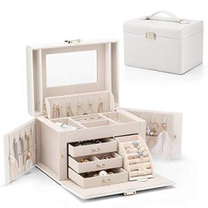Vlando ジュエリーボックス 収納 アクセサリーケース 大容量の宝石箱 母の日スイーツなプレゼントミラー 鏡付き ピアス ネックレス 指輪 リング stylecolorstore