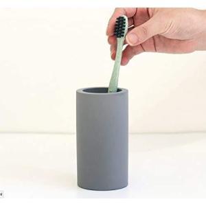 Adadoo 珪藻土 歯ブラシスタンド 歯ブラシ立て トゥースブラシスタンド 吸水 速乾 カビ防止 除菌 11.5cm×6cm グレー stylecolorstore
