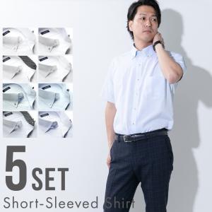 ワイシャツ 5枚 セット 半袖 形態安定 メンズ ノーアイロン ボタンダウン おしゃれ 白 サックス レギュラー ドゥエ|styleequal