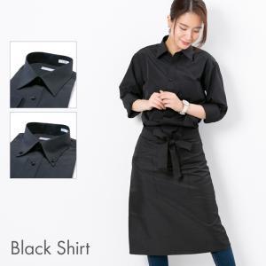 ワイシャツ 黒 レディース (ユニセックス) 形態安定 長袖 黒シャツ 仕事着 制服 衣装 発表会 ブラック レギュラー ボタンダウン|styleequal