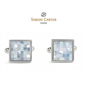 カフス ブランド サイモンカーター Simon Carter Chequer / Blue Mother of Pearlギフト プレゼント 送料無料|styleequal