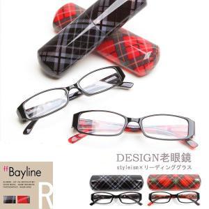 老眼鏡 おしゃれ 男女兼用 スマホめがね クリア チェック柄 持ち運びケース付き 度数 1.0 1.5 2.0 2.5 3.0|styleism