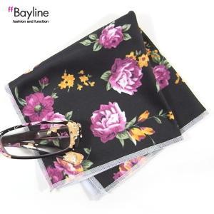 眼鏡拭き 花柄 ブラック おしゃれ メガネ クロス かわいい 花柄  ブラック  ブランド Bayline ベイライン styleism