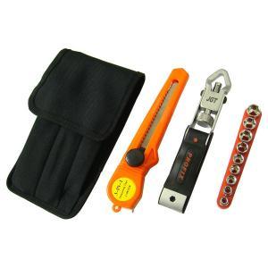 マルチツールセット プロフィックス2000 ハンマー(金槌)/ソケットレンチ/ドライバー/カッターナイフ/ノコギリ/メジャー 工具 ホルダー(バッグ)付き|stylemarket