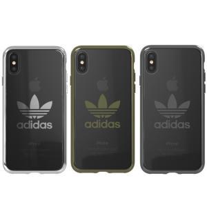 iPhone XSケース,  iPhone Xケース adidas ロゴ入りクリアカバーケース、プラ...