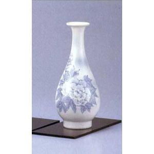 九谷焼 8号寸胴花瓶 染付牡丹 (花台付)|stylence