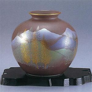 九谷焼 5号花瓶 紫木立連山|stylence