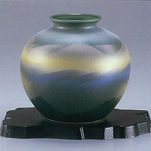 九谷焼 5号花瓶 グリーン色連山|stylence