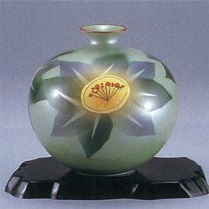 九谷焼 6号花瓶 象眼山茶花|stylence