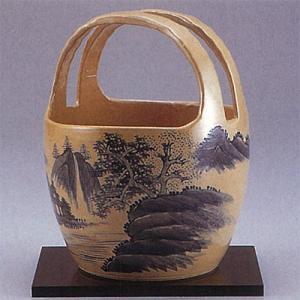 九谷焼 7号手桶花瓶 染付山水|stylence