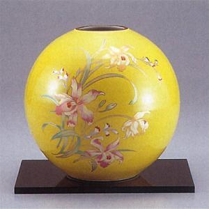 九谷焼 7号花瓶 黄釉カトレア|stylence