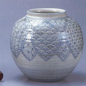 九谷焼 【送料無料】  8号花瓶 染付藍小紋|stylence