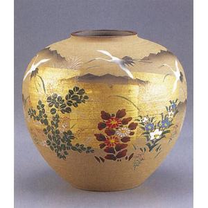 九谷焼 【送料無料】  9号花瓶 金箔に鶴|stylence
