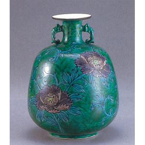 九谷焼 【送料無料】  9号花瓶 緑釉牡丹|stylence