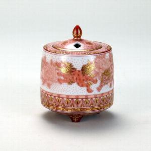 九谷焼 福島武山 香炉 赤絵牡丹獅子文 stylence