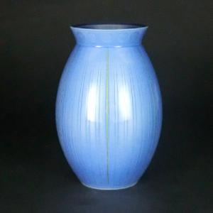 九谷焼 中田一於 9号花瓶 淡青釉裏銀彩線文|stylence