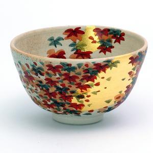抹茶碗(白) 金箔紅葉|stylence