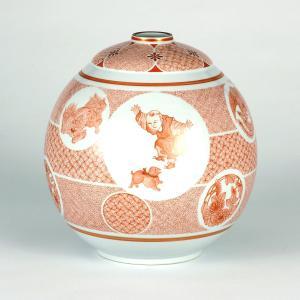 伝統工芸士 大酒清山作 8号花瓶 赤絵唐子鳳凰文|stylence