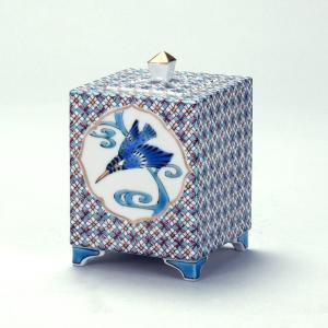 九谷焼 山田義明作 3.5号香炉 小紋に翡翠|stylence
