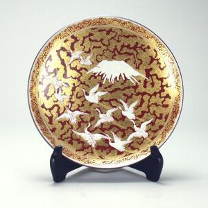 九谷焼 高明作 8.5号飾皿 金欄手富士に鶴図|stylence