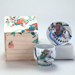 九谷焼 和我盃 風神雷神 伝統工芸士 福田良則 作|stylence