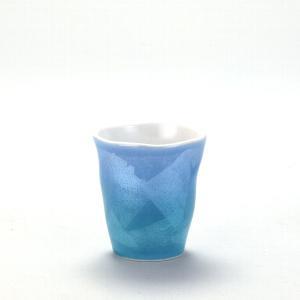 九谷焼 焼酎ショットグラス 銀彩青色|stylence