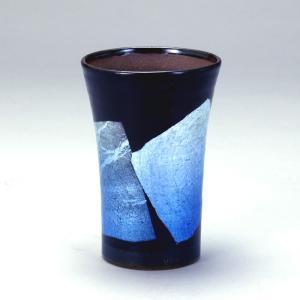 九谷和窯 泡がおいしい泡多長ビアカップ 銀彩青色 250cc|stylence
