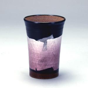九谷和窯 泡がおいしい泡多長ビアカップ 銀彩京紫色 250cc|stylence