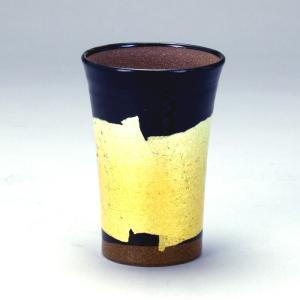 九谷和窯 泡がおいしい泡多長ビアカップ 銀彩黄色 250cc|stylence
