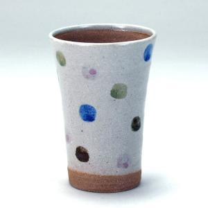 九谷和窯 泡がおいしい泡多長ビアカップ 四色水玉 350cc|stylence