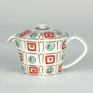 イツミ陶器 うまちゃポット(アミ付)シリーズ 石畳 赤|stylence