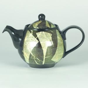 イツミ陶器 うまちゃポット(アミ付)シリーズ 丸 銀彩 白|stylence