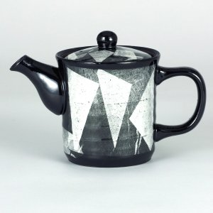 イツミ陶器 うまちゃポット(アミ付)シリーズ 小 銀彩 白|stylence