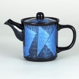 イツミ陶器 うまちゃポット(アミ付)シリーズ 小 銀彩 青|stylence