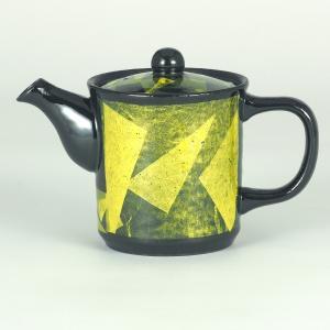 イツミ陶器 うまちゃポット(アミ付)シリーズ 小 銀彩 黄|stylence