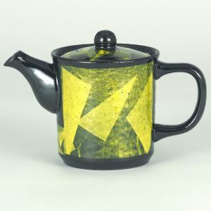 イツミ陶器 うまちゃポット(アミ付)シリーズ 大 銀彩 黄|stylence