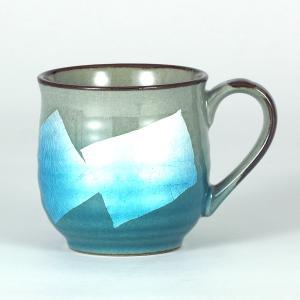 九谷焼 マグカップ 銀彩 水色|stylence