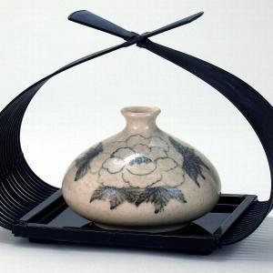 九谷焼 4号(花篭付き) 一輪生 梨釉牡丹|stylence