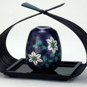 九谷焼 (花篭付き) 3号一輪生 紫唐草|stylence