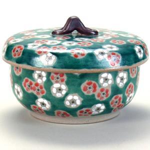 九谷焼 ご飯がくっつきにくい魔法のおひつ(蓋付レンジ鉢) 緑彩紅白梅|stylence