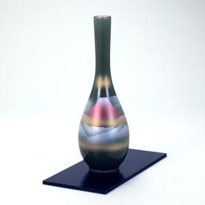 九谷焼 8号つる首花瓶 オリベ赤富士 (花台付)|stylence
