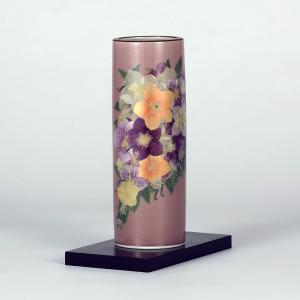 九谷焼 6号寸胴 紫メルヘン (花台付)|stylence
