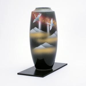 九谷焼 8号寸胴花瓶 双鶴連山 (花台付)|stylence