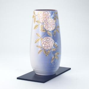 九谷焼 8号寸胴花瓶 野薔薇 (花台付)|stylence