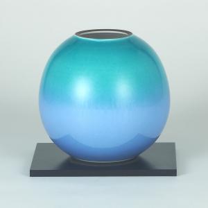 九谷焼 5.5号花瓶 釉彩 (花台付)|stylence